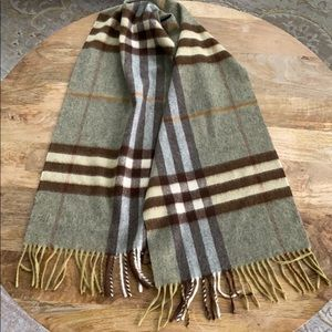 Authentic Burberry Olive Gray Plaid Cashmere Scarf